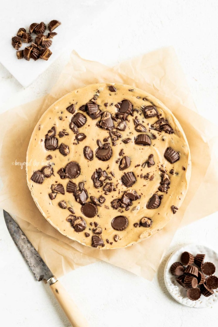 Overhead image of Reese's Peanut Butter Cup Cheesecake | All Images © Beyond the Butter, LLC