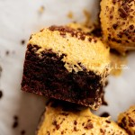 closeup of pumpkin frosted brownie on its side | All Images © Beyond the Butter™