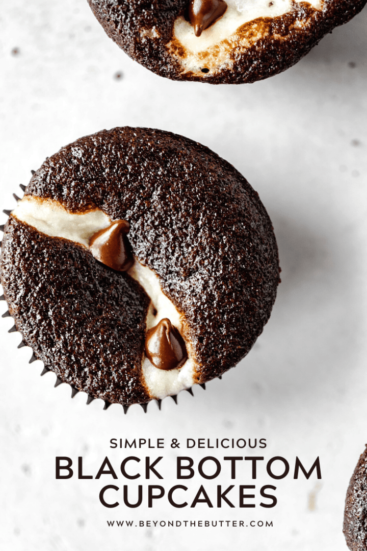 Pinterest Image of Simple and Delicious Black Bottom Cupcakes | All Images © Beyond the Butter™