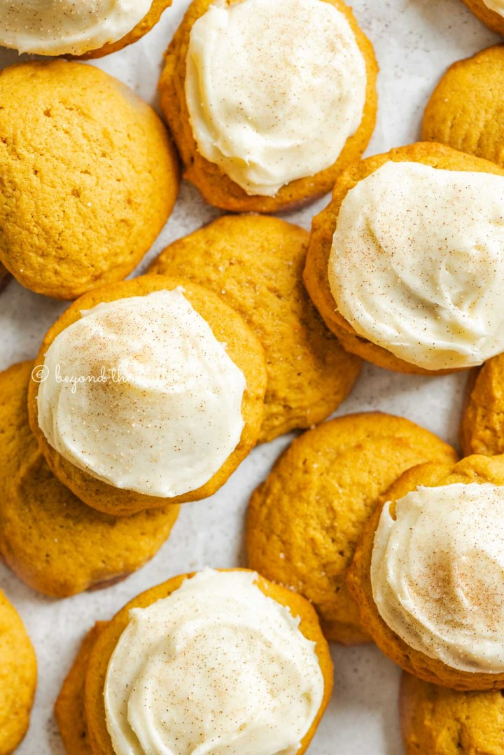 Plain and cream cheese frosted pumpkin cinnamon cookies on a white background | All Images © Beyond the Butter™
