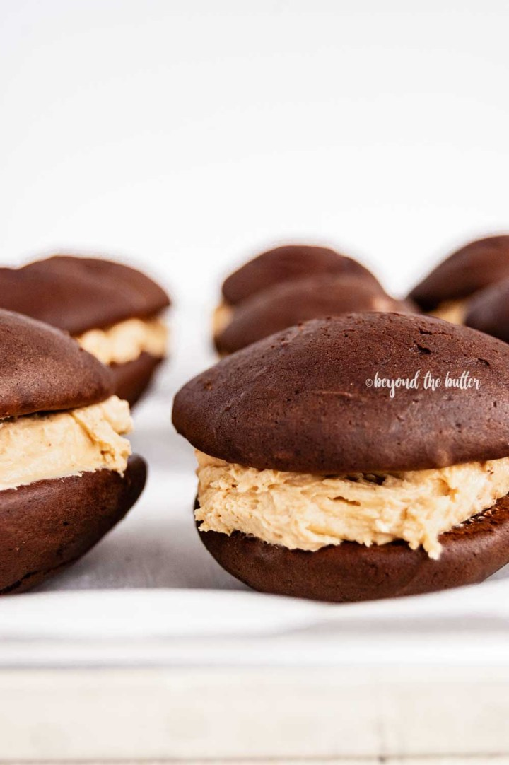 Close up image of chocolate peanut butter whoopie pies | All images © Beyond the Butter™