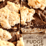 Pinterest image of cut fudge nut bars on a baking tray | All Images © Beyond the Butter™