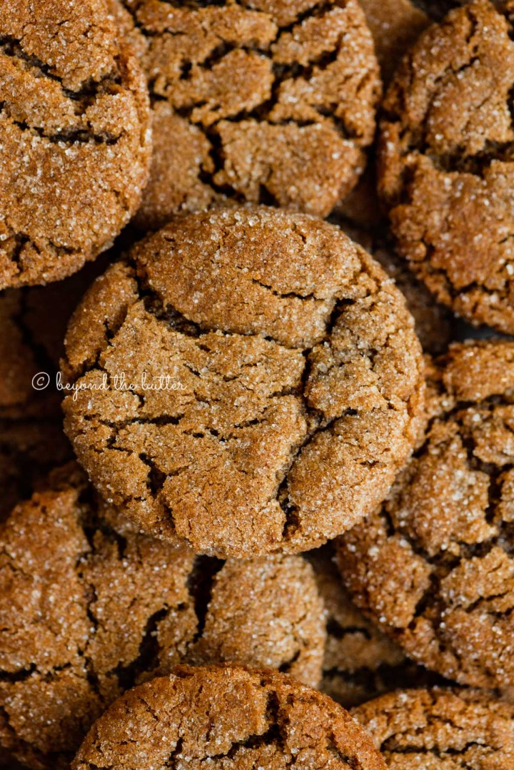 Closeup overhead image of soft molasses cookies | All Images © Beyond the Butter™