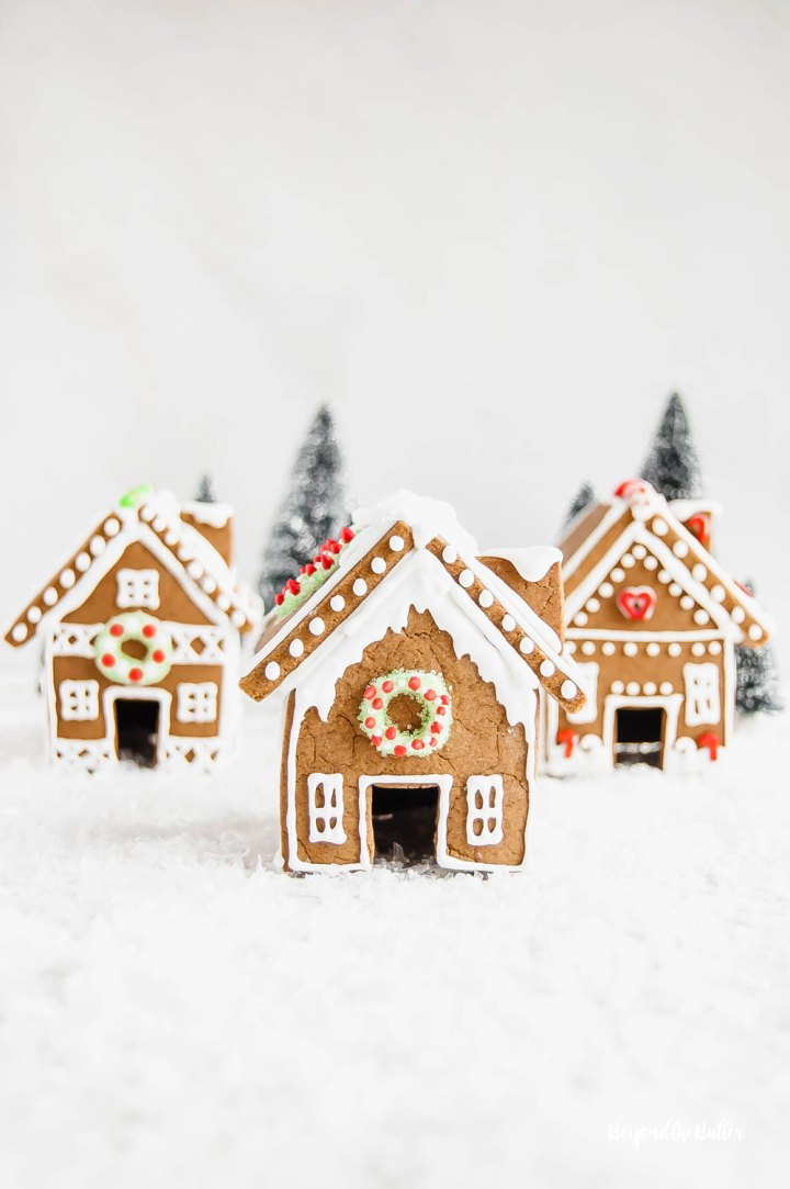 Homemade Gingerbread Houses - 3 gingerbread houses with trees in the background | All Images © Beyond the Butter, LLC