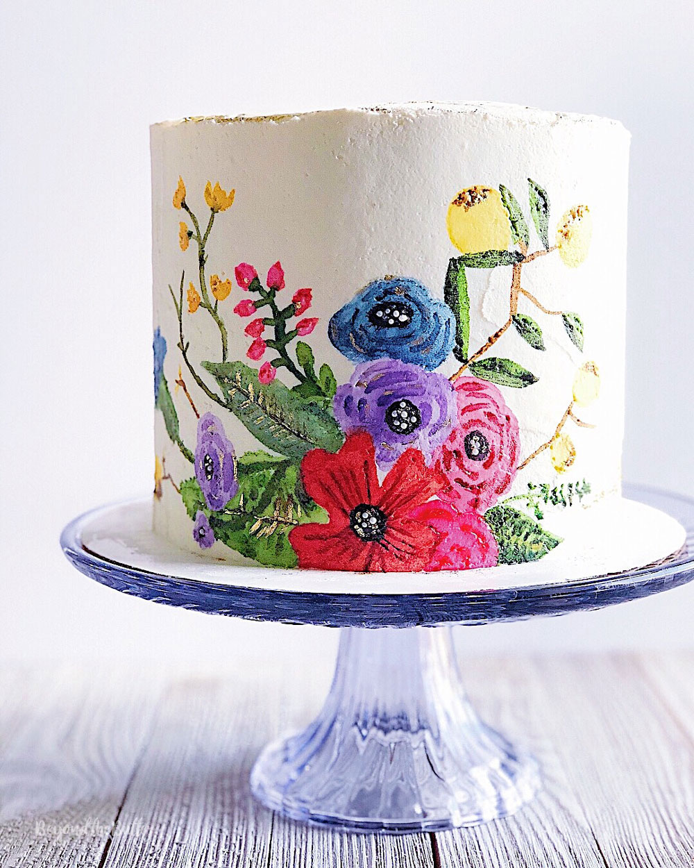 How to Paint on a Buttercream Cake - Beyond the Butter