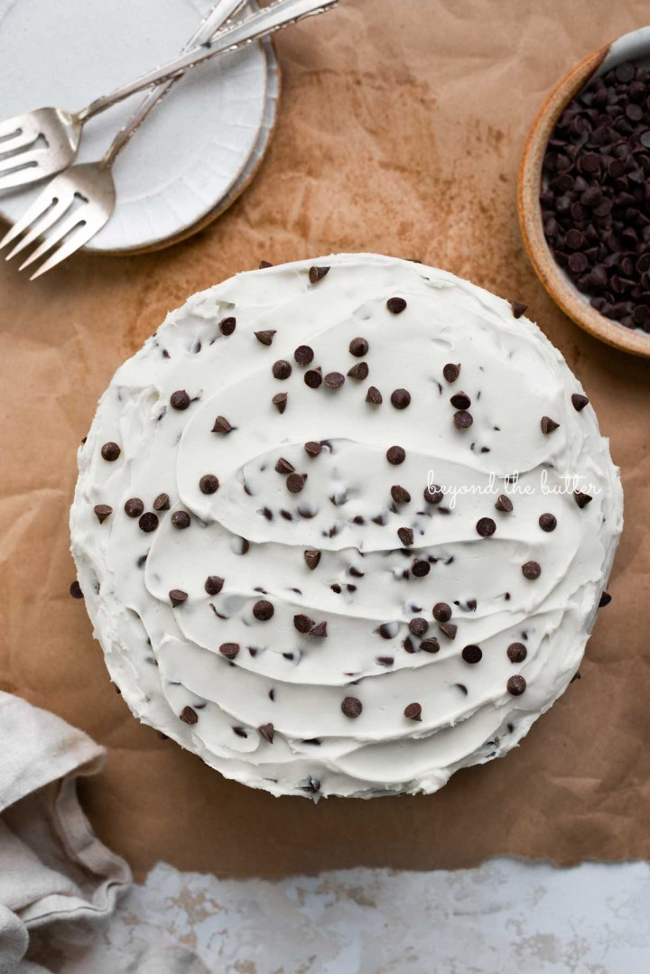 Chocolate chip cake frosted with chocolate chip buttercream frosting with dessert plates, forks, a bowl of chocolate chips, and a napkin on a brown paper background | © Beyond the Butter®