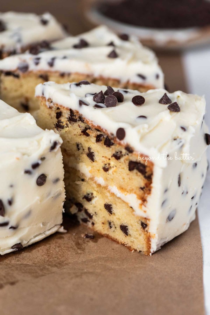 Slices 2 layer chocolate chip cake on a brown paper background | © Beyond the Butter®
