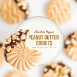 Chocolate Dipped Peanut Butter Cookies   Overhead shot of one chocolate dipped peanut butter cookie with a bite taken to of it and placed on the edge of a glass of milk with other peanut butter cookies in the background   Image and Copyright Policy: © Beyond the Butter, LLC