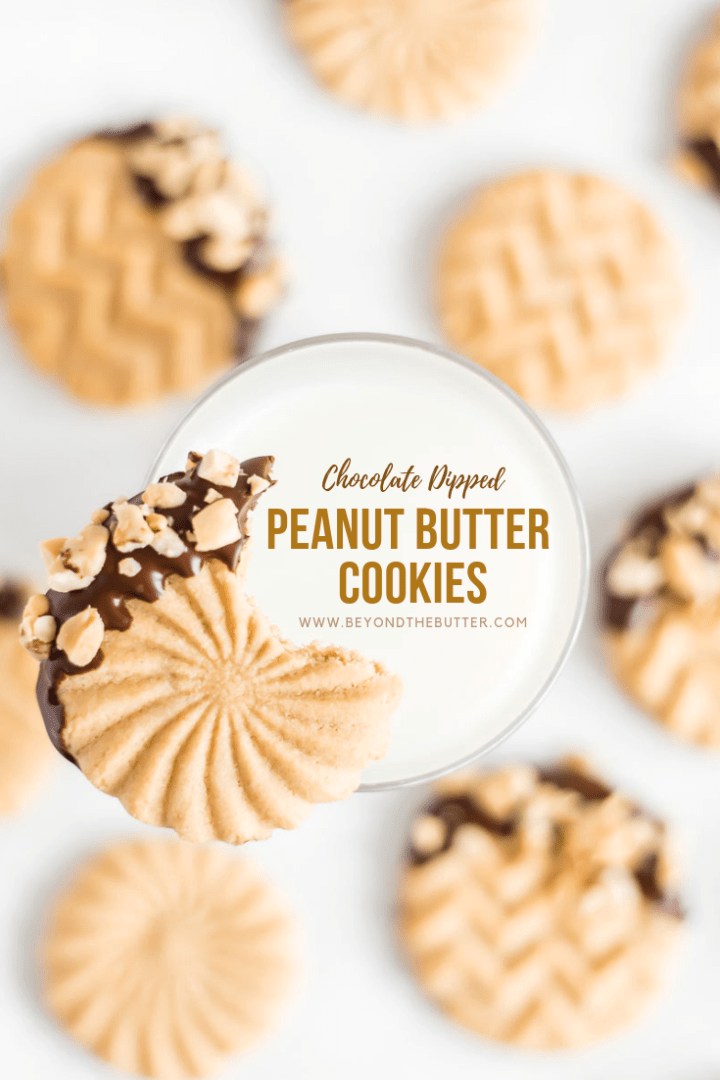 Chocolate Dipped Peanut Butter Cookies | Overhead shot of one chocolate dipped peanut butter cookie with a bite taken to of it and placed on the edge of a glass of milk with other peanut butter cookies in the background | Image and Copyright Policy: © Beyond the Butter, LLC