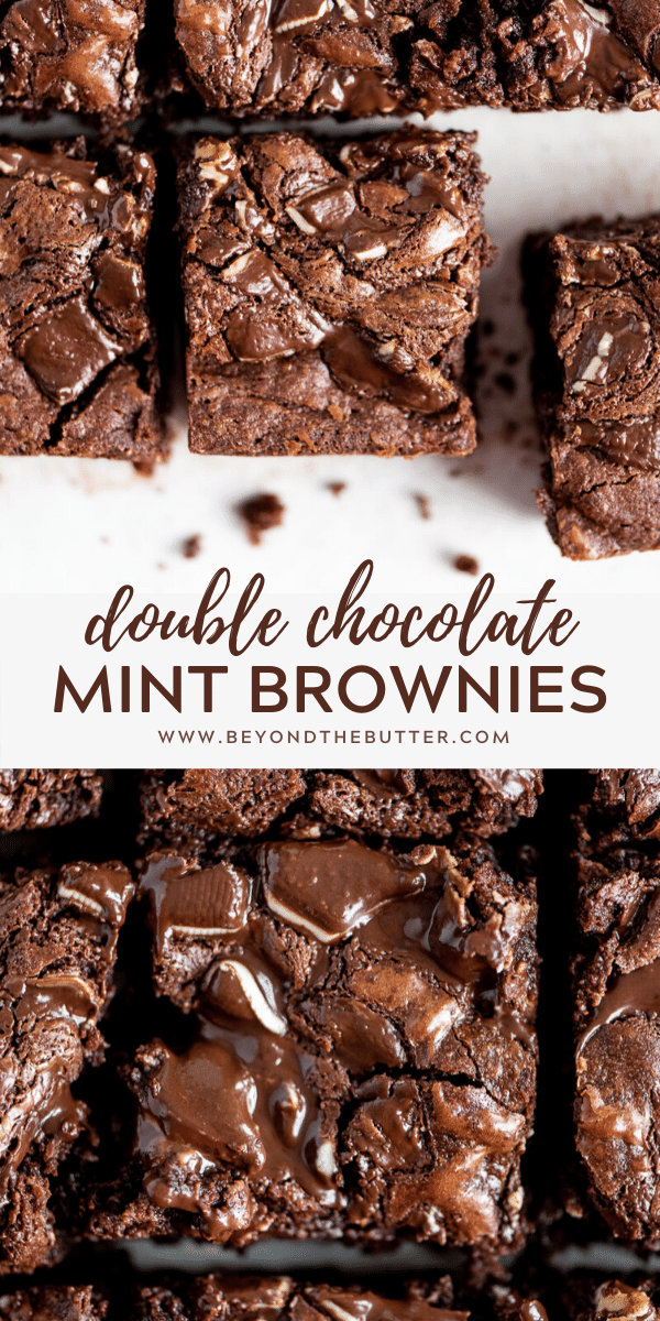 Pinterest images of double chocolate mint brownies | All Images © Beyond the Butter™