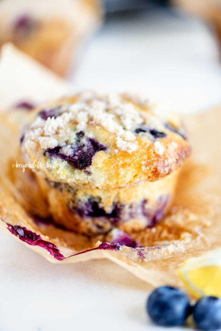 Lemon blueberry streusel muffin unwrapped | All Images © Beyond the Butter™
