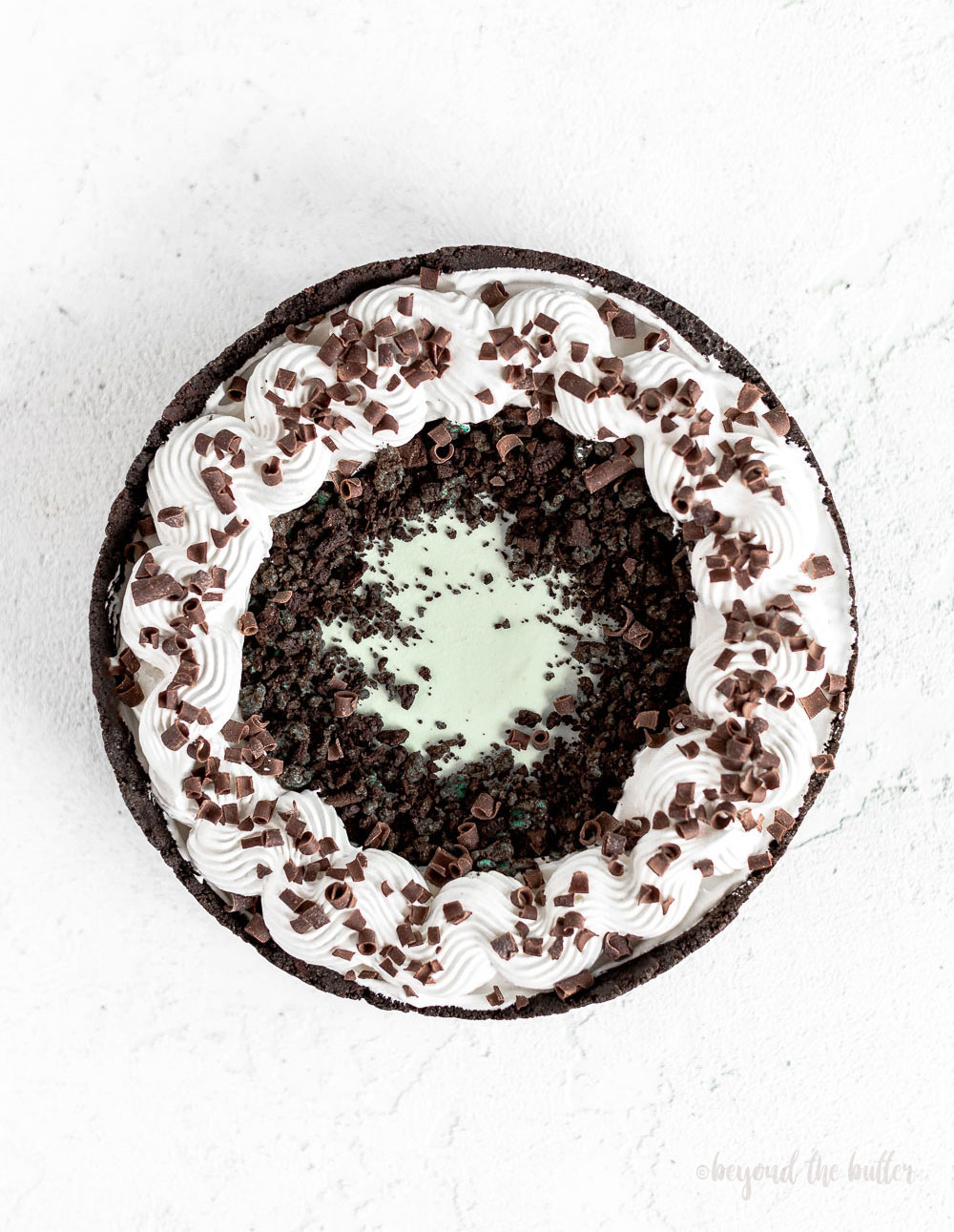 No Bake Mint Chocolate Pie | Overhead photo of Mint Chocolate Pie | Image and Copyright Policy: © Beyond the Butter, LLC.