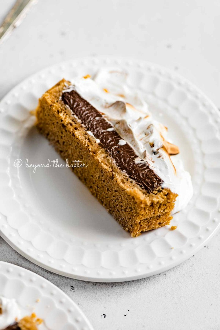 Images of one slice of chocolate marshmallow tart | All Images © Beyond the Butter™