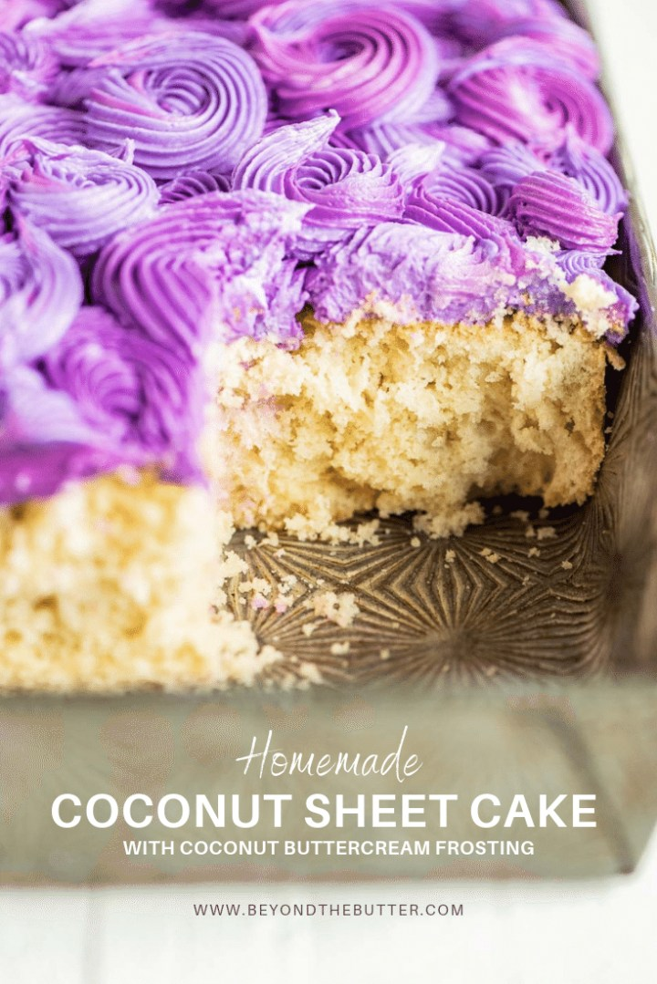 Coconut Sheet Cake with Coconut Buttercream Frosting | All Images © Beyond the Butter, LLC