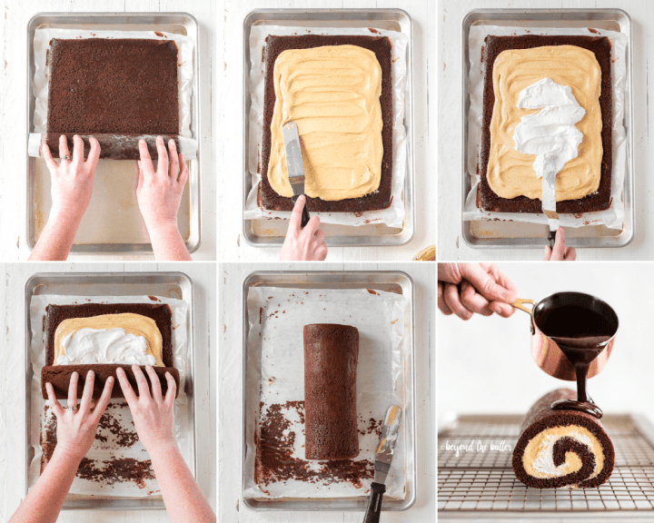 How to Assemble a Chocolate Pumpkin Cake Roll | All Images © Beyond the Butter, LLC