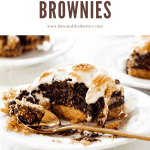 Pinterest image of Layered S'mores Brownies | All Images © Beyond the Butter™