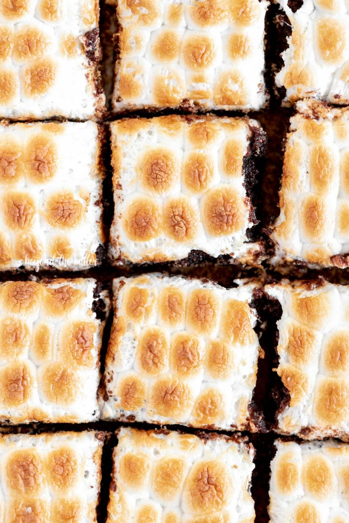 Classic S'mores Brownies with mini marshmallows | All Images © Beyond the Butter, LLC