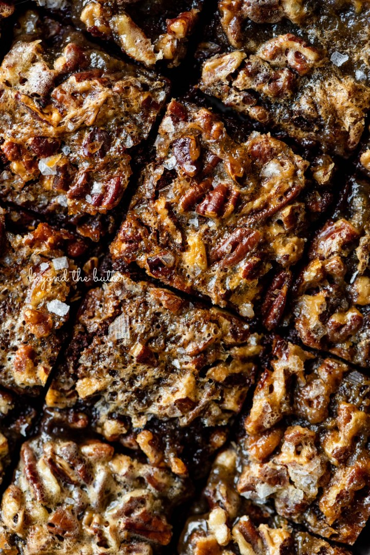 Just sliced salted pecan pie brownies from BeyondtheButter.com | © Beyond the Butter®