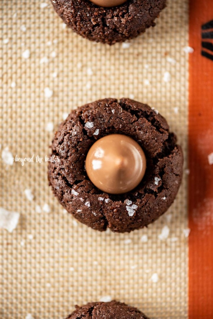 Overhead image of Chocolate Caramel Blossoms on cookie sheet | All Images © Beyond the Butter, LLC