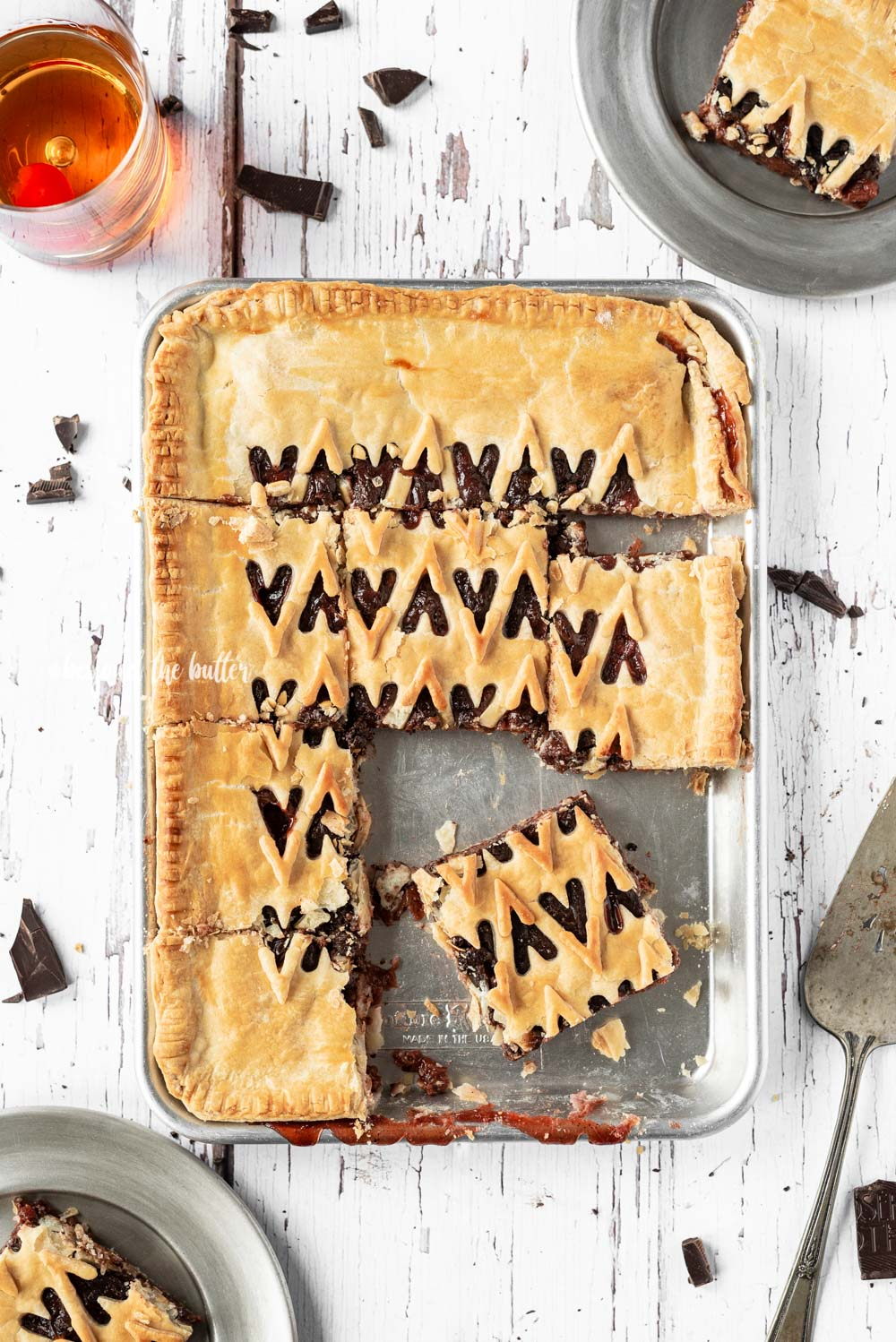 Chocolate Cherry Bourbon Slab Pie recipe | All Images © Beyond the Butter, LLC