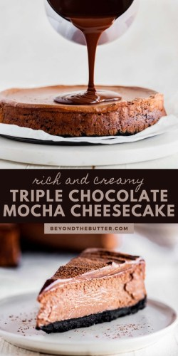 Pinterest images of Triple Chocolate Mocha Cheesecake from Beyond the Butter® | All Images © Beyond the Butter®