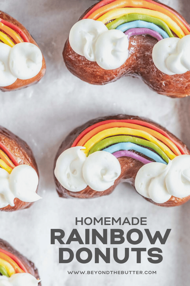 Pinterest image for Rainbow Donuts recipe | All Images © Beyond the Butter, LLC