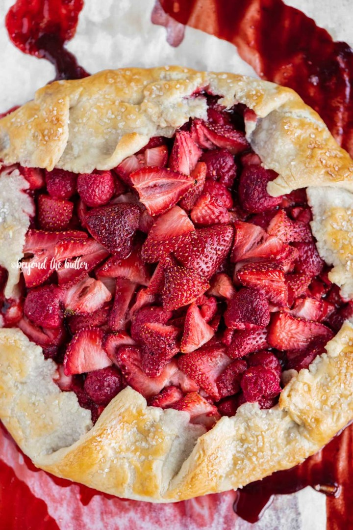Overhead image of a Berry Nutella Galette on a baking sheet | All Images © Beyond the Butter™