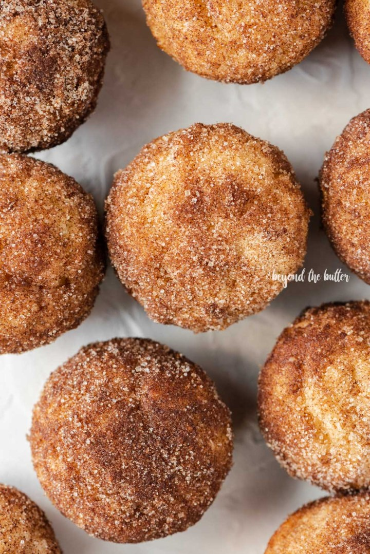 Overhead image of cinnamon sugar breakfast muffins on a white background | All Images © Beyond the Butter™