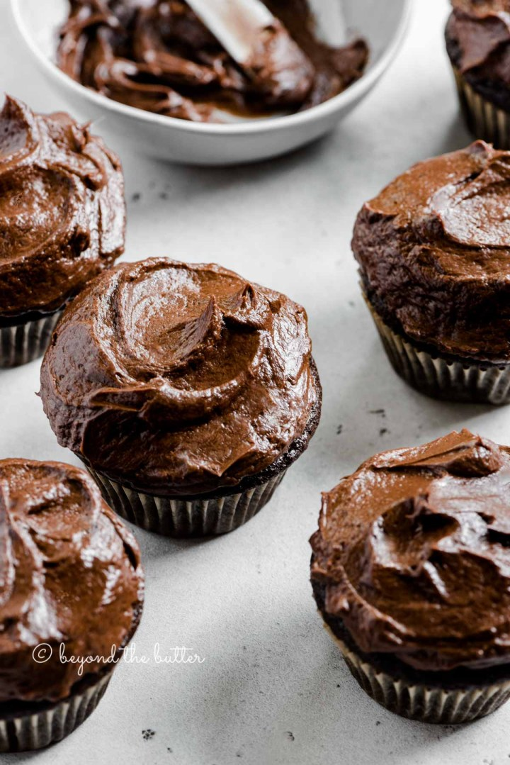 Angled image of small batch chocoalte cupcakes | All images © Beyond the Butter™