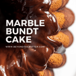 Pinterest image of chocolate glazed marble bundt cake | All Images © Beyond the Butter™