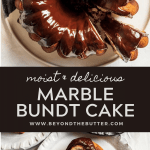 Pinterest images of chocolate glazed marble bundt cake | All Images © Beyond the Butter™