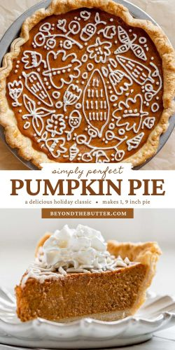 Image of perfect pumpkin pie with cream cheese frosting piped decorative top from BeyondtheButter.com   All Images © Beyond the Butter®