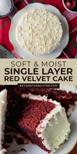 Pinterest images of red velvet cake with cream cheese frosting from Beyond the Butter® | All Images © Beyond the Butter®