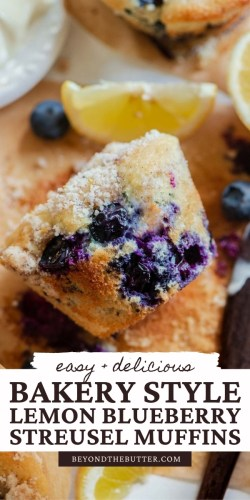 Pinterest images of lemon blueberry streusel muffins from BeyondtheButter.com | All images © Beyond the Butter®