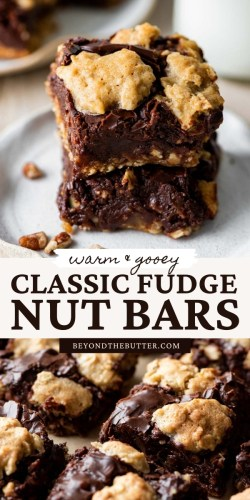 Pinterest images of classic fudge nut bars from BeyondtheButter.com | All Images © Beyond the Butter®