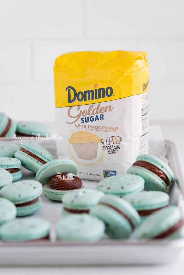 Domino® Golden Sugar is one of the main ingredients used to make these robin's egg macarons from BeyondtheButter.com | All images © Beyondt the Butter®