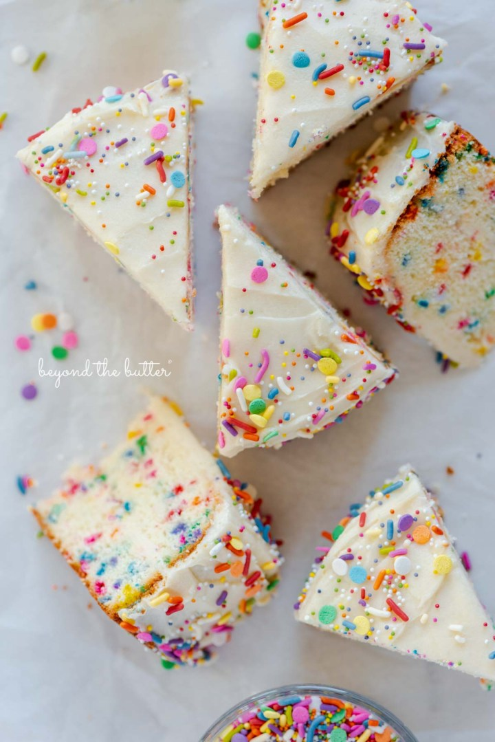 Slices of single layer funfetti cake from BeyondtheButter.com | All images © Beyond the Butter®
