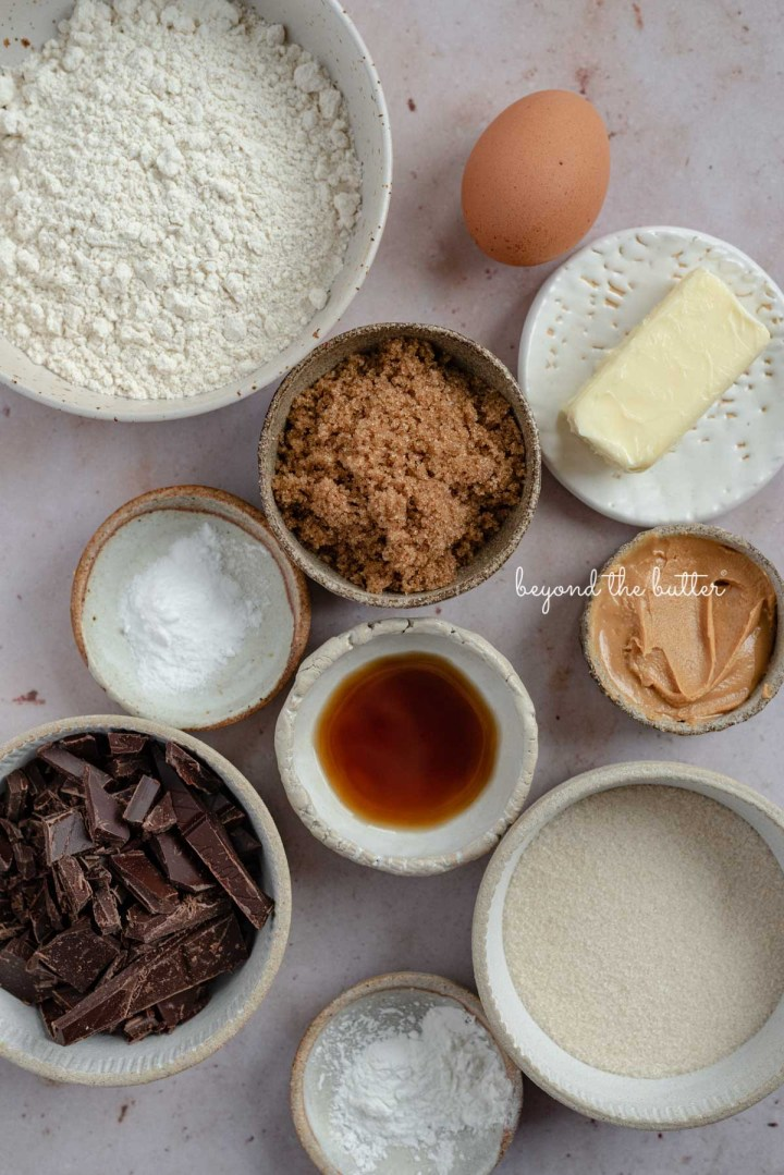 Ingredients needed to make small batch gluten free peanut butter chocolate chunk cookies from BeyondtheButter.com | © Beyond the Butter®