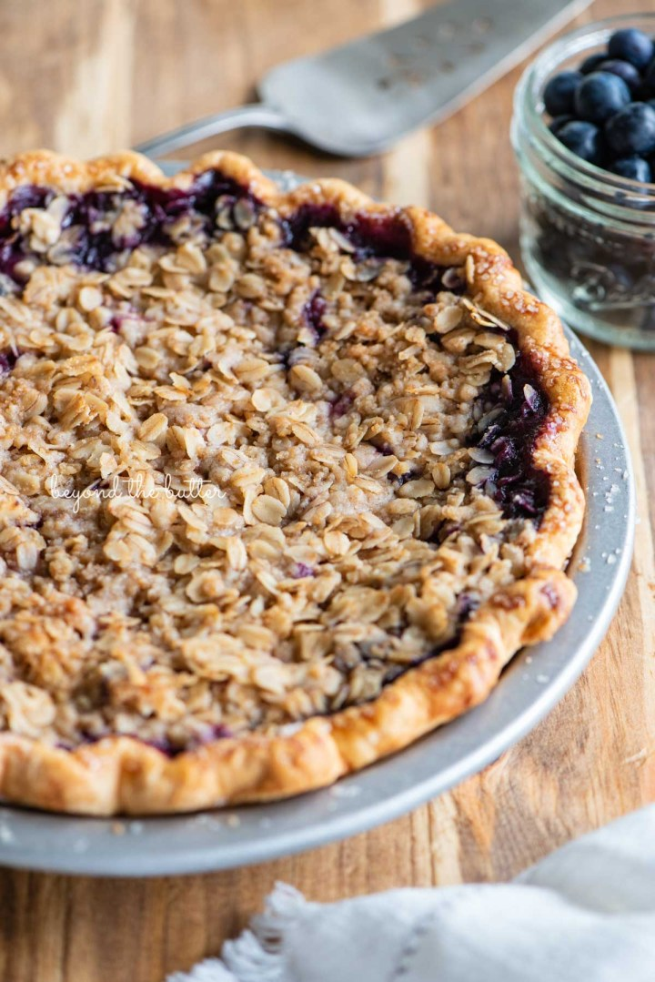 Just baked blueberry crumble pie   © Beyond the Butter®