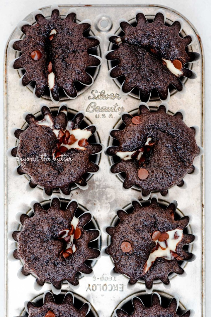 Small batch black bottom cupcakes in a vintage baking tin from BeyondtheButter.com | © Beyond the Butter®