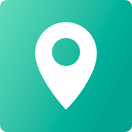 Location Marker in white with a green background