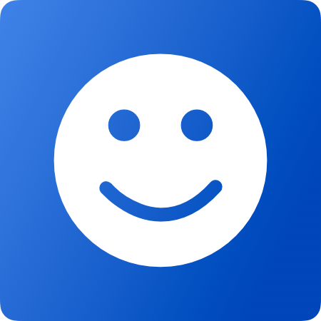 Picture of an Emoji smiling on a blue background.