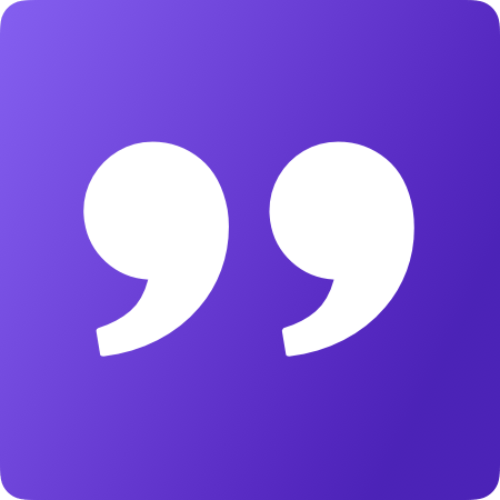 white quotation marks on a purple background.