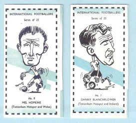 Sweetule International Footballers Cards featuring Blanchflower & Hopkins (1962)