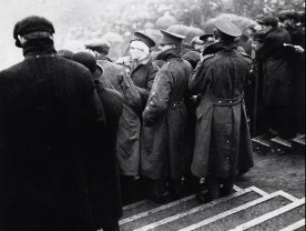 Armed forces watching the 1915 FA Cup Final at Old Trafford between Sheffield Utd and Chelsea