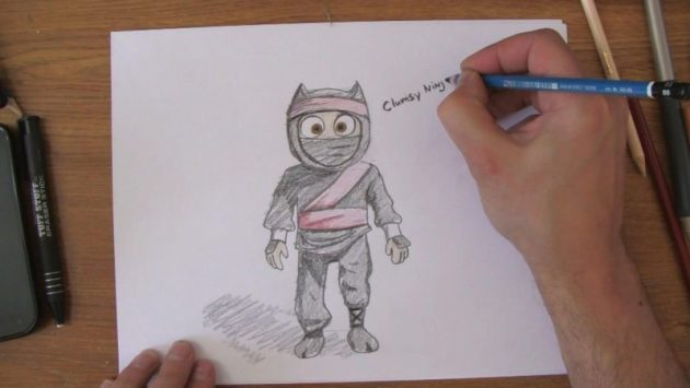 Ninja Kid Drawing