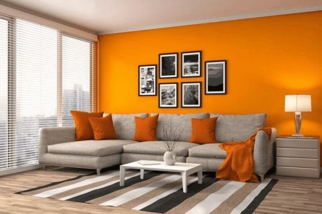 Orange Modern Living Room Color Ideas