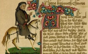"Not a man-horse, this time a man and a horse, riding off to pilgrimage. Click on the link to find out more about Chaucer's ""Canterbury Tales."""