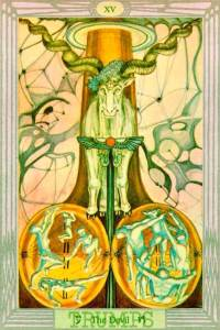 The Devil, or the horned god (inspired by Pan). From the Thoth tarot deck, designed by Aleister Crowley and painted by Marguerite Harris.