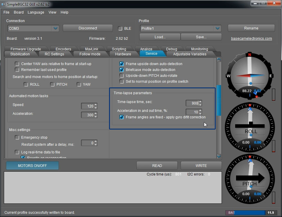 3 axis gimbal timelapse feature video tutorial beyond the you save there the duration of the shot in seconds as i mentioned you can save different values to different profiles for me it was ccuart Images